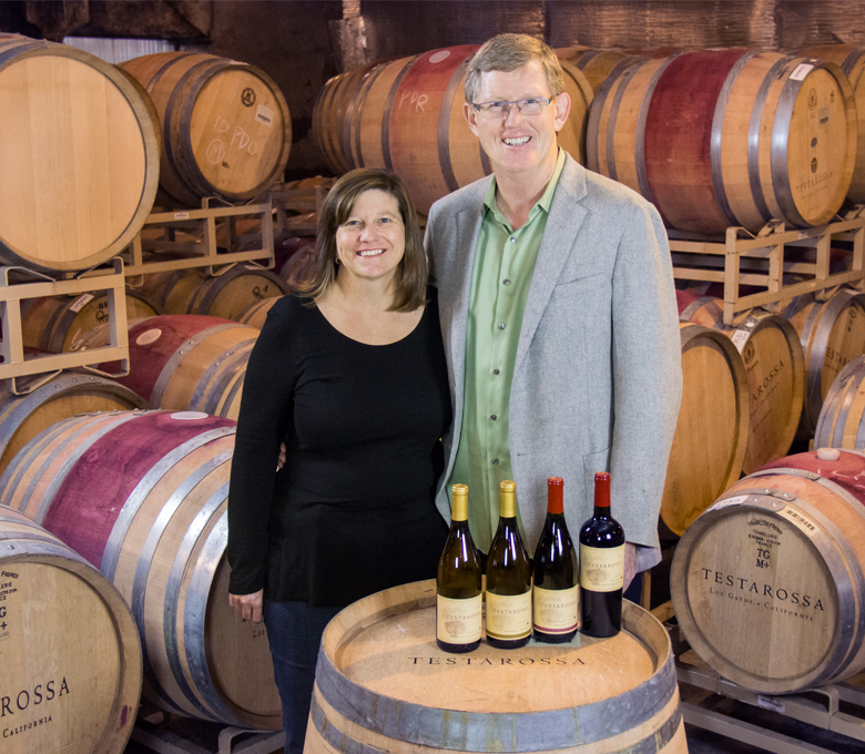 Rob Jensen '80 and wife, Diana, owners of Testarossa Winery, graciously welcome with each glass